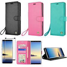 Galaxy Note 8 Wrist Strap Wallet Case Cover + Tempered Glass Screen Protector