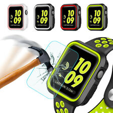 For Apple Watch Series 3 38/42mm Rugged Bumper TPU Case+Screen Protector Cover