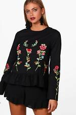 Boohoo Aria Boutique Embroidered Woven Peplum Top per Donna