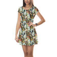 Haunted Mansion Stretch Paintings Short Sleeve Dress XS-5XL Flared