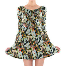 Haunted Mansion Stretch Paintings Longsleeve Skater Dress XS-3XL All-Over-Print