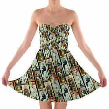 Haunted Mansion Stretch Paintings Sweetheart Skater Dress Strapless XS-3XL