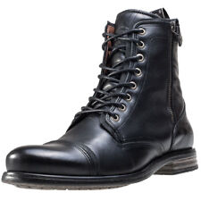 Sneaky Steve Fordham Mens Black Leather Casual Boots Lace-up Genuine Shoes