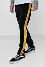 Boohoo Skinny Fit Velour Joggers with Panels para Hombre