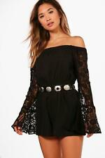 Boohoo Erin Off The Shoulder Lace Flare Sleeve Playsuit per Donna