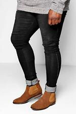 Boohoo Big And Tall Skinny Fit Jeans With Turn Up per Uomo
