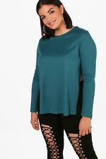 Boohoo Plus Emma Side Split Ribbed Jumper per Donna