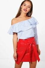 Boohoo Petite Sasha One Shoulder Stripe Ruffle Top para Mujer