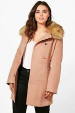 Boohoo Plus Leah Faux Fur Collar Coat para Mujer