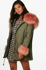 Boohoo Nisha Faux Fur Cuff And Collar Parka para Mujer