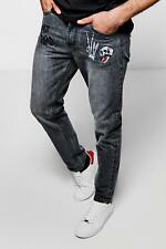 Boohoo Embroidered Jeans in Skinny Fit per Uomo