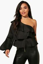 Boohoo Petite Fiona One Shoulder Ruffle Top para Mujer