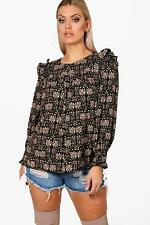 Boohoo Plus Helena Floral Ruffle Shoulder Woven Top per Donna