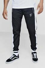 Boohoo Regular Fit Tricot Joggers with Side Piping para Hombre