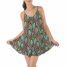Peacock Feathers Beach Cover Up Dress XS-3XL