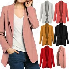 NEW LADIES OPEN BLAZER WOMENS LONG BOYFRIEND JACKET POCKETS SMART LOOK WORK TOP