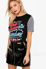 Boohoo Emma Printed Check Sleeve T-Shirt per Donna