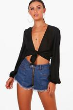 Boohoo Petite Molly Tie Wrap Front Blouse per Donna