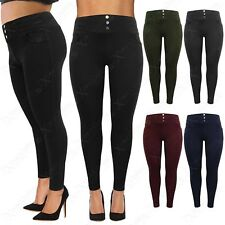 NEW WOMENS PLUS BIG SIZE JEGGINGS STRETCH LADIES LEGGINGS BUTTONS DETAIL 16-26