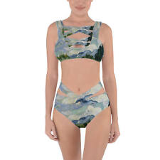 Vincent Van Gogh Fine Art Painting Criss Cross Bandage Bikini Set XS-3XL