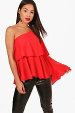 Boohoo Maisy One Shoulder Frill Woven Top per Donna