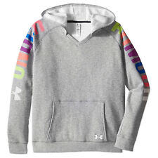 UNDER ARMOUR MÄDCHEN KINDER FLEECE HOODIE KAPUZENPULLOVER  SWEATSHIRT GRAU