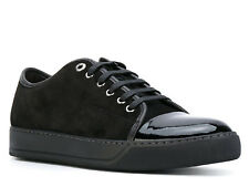 Lanvin men's fashion trainers athletic lace up shoes in black suede leather