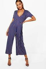 Boohoo Annabel Strip Wrap Front Culotte Jumpsuit per Donna