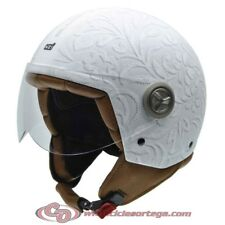Casco NZI Jet ZETA GRAPHICS BROCADO WHITE mate talla L