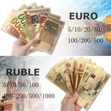 EURO Russia Rubles Banknote Gold Foil Fake Toy  Money Play Set Collection Gift
