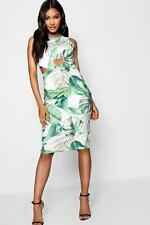 Boohoo Sarah Tropical Print Cut Out Front Midi Dress para Mujer