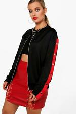 Boohoo Plus Aisha Popper Detail Bomber Jacket per Donna