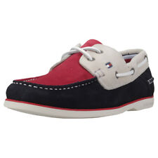 Tommy Hilfiger Classic Suede Mens Red Navy Suede Boat Shoes