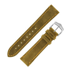 Hirsch HERITAGE Natural grain Calfskin with Patina Leather Watch Strap in HONEY