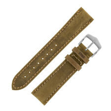 Hirsch HERITAGE Natural patina grain Calfskin Leather Watch Strap in GOLD BROWN