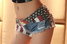 Women Low Waist Short Splice Jeans Pants Flag Printed Denim Shorts Club wear