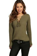 Boohoo Petite Willow Lace Up Rib Knit Jumper para Mujer