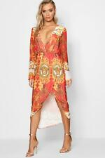 Boohoo Nina Printed Wrap Top Midi Dress para Mujer