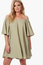 Boohoo Plus Alex Open Shoulder Woven Swing Dress para Mujer