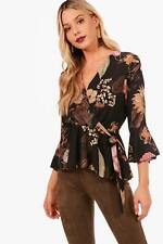 Boohoo Claire Floral Wrap Tie Side Blouse para Mujer