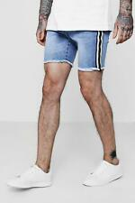 Boohoo Skinny Fit Denim Shorts with Side Taping para Hombre