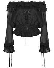 Punk Rave Womens Gothic Gypsy Top Black Floral Steampunk Boho Medieval Peasant
