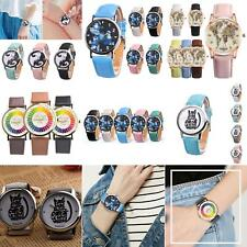KIDS BOYS GIRLS CARTOON CATS FAUX LEATHER QUARTZ ANALOG WRIST WATCH LOT CLASSY