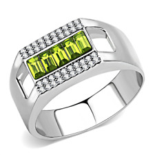 A289 MENS SIGNET RING PERIDOT EMERALD SIMULATED DIAMONDS STAINLESS STEEL GREEN