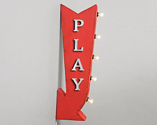 PLAY Room Kids Fun Playroom Time Metal Double Sided Marquee Arrow Light Up Sign