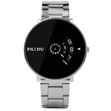 PAIDU Fashion Men Quartz Wrist Watch Stainless Steel Band Turnable Dial Bracelet
