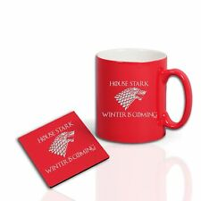 Game of Thrones Inspired House Stark Pinted Mug Coaster dad uncle Gift Set