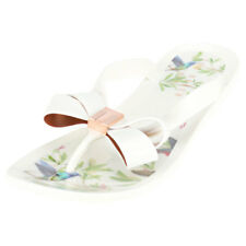 Ted Baker Susziep Womens in White Multicolour Synthetic Flip Flops