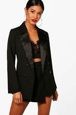 Boohoo Womens Boutique Double Breasted Tailored Tux Blazer
