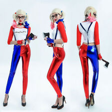 Suicide Squad Harley Quinn Clown Women Cosplay Costume Jacket Shirt Pant Glove Y